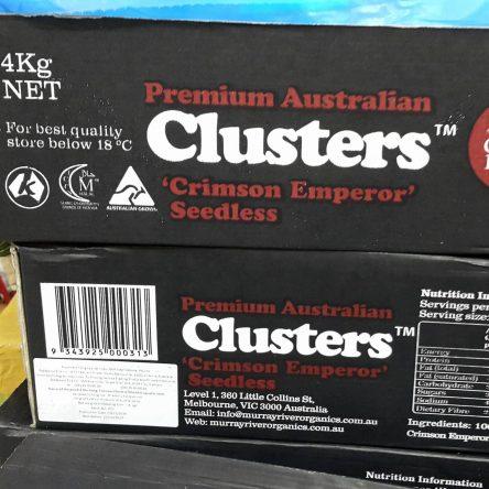 Thùng Nho Khô Nguyên Cành Úc Clusters Crimson Emperor 4Kg