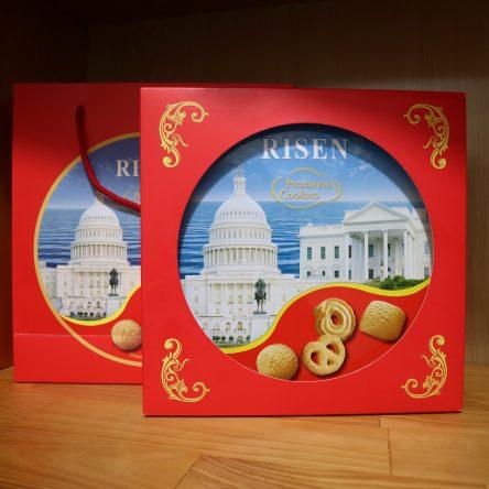 Bánh Risen Premium Cookies Mỹ ( Đỏ ) – Hộp Sắt 454g